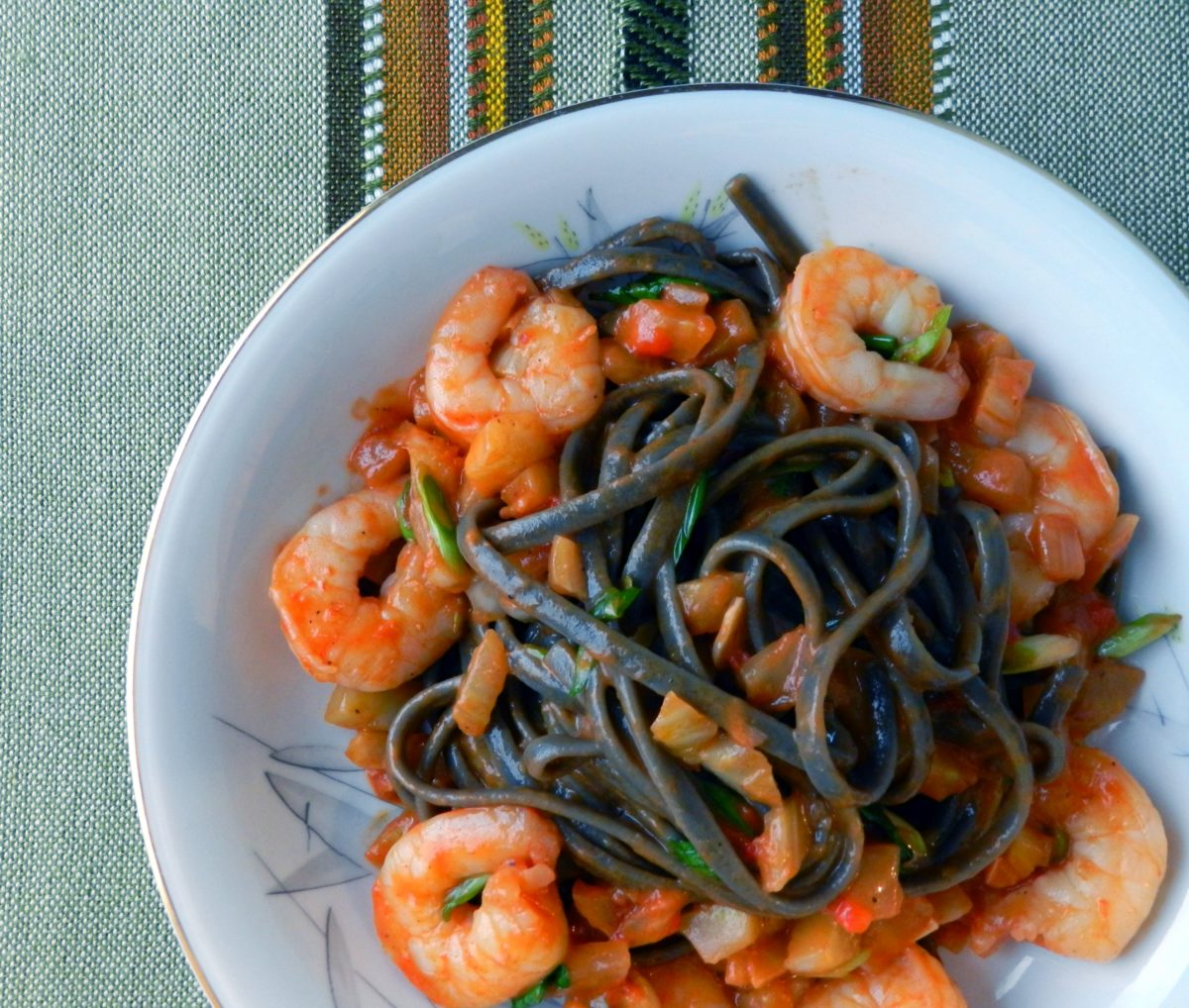 Black Fettuccine with Fennel, Shrimp, and Chili Oil